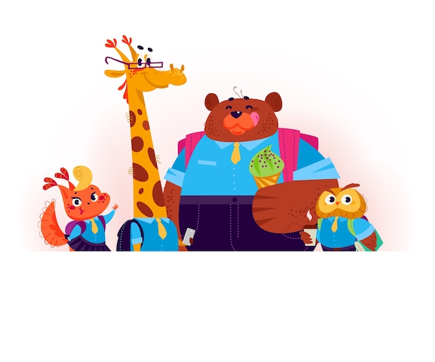 Flat set of happy animal student stand behind white banner. back to school illustration.
