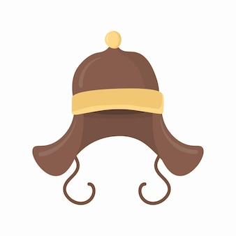 Flat set of headwear hat clothes for winter autumn retro style for christmas new year design