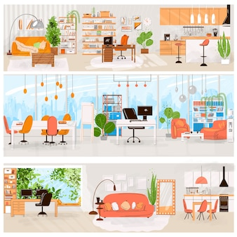 Flat set of home and office interior - living room interior, kitchen, office work place, comfortable sofa, tv, window, chair and house plants, flat furniture collection.