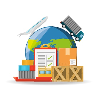 Flat set icon logistic shipping
