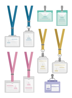 Flat set of id card holders templates. employees identification badges with neck straps and metal clips.