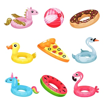 Flat   set of inflatable swimming accessories. rubber ball. rings in various shapes pegasus, donut, swan, duck, unicorn, flamingo, watermelon. air mattress in form of pizza slice