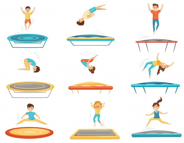 Flat set of kids jumping on trampolines. happy boys and girls having fun. active leisure. children recreation