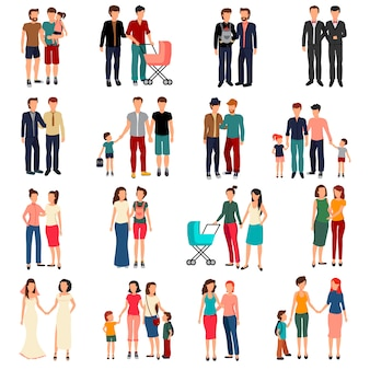 Flat set of male and female homosexual couples and families with children isolated on white backgrou