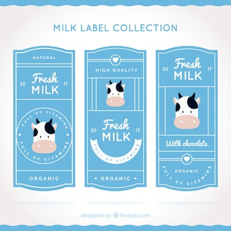 Set piatto di etichette di latte con mucca decorativo