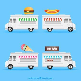 Flat set of modern food trucks
