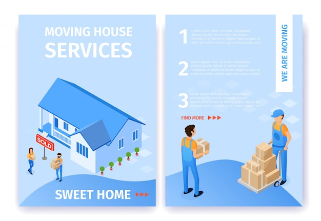 Flat set moving house services sweet home vector.