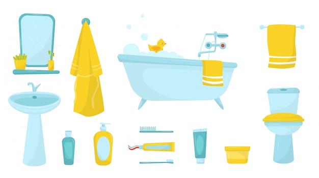 욕실 용품의 평면 세트입니다. 거품 및 고무 오리가 달린 욕조, 목욕 가운 및 수건, 스킨 케어 및 개인 위생 용 화장품