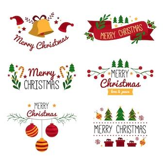 Плоский набор рождественских этикеток