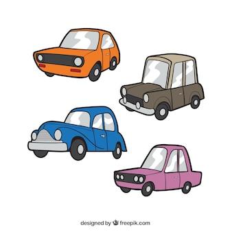 다른 색상으로 클래식 자동차의 평면 세트