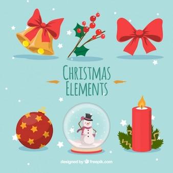 カラフルなクリスマスの要素のフラットセット
