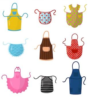 Плоский набор красочных кухонных фартуков. защитная одежда. кулинарное платье для домохозяйки или шеф-повара ресторана