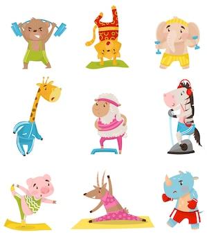 스포츠에 종사하는 귀여운 인간화 동물의 평면 세트. 신체 활동과 건강한 생활. 운동복에 재미있는 만화 캐릭터