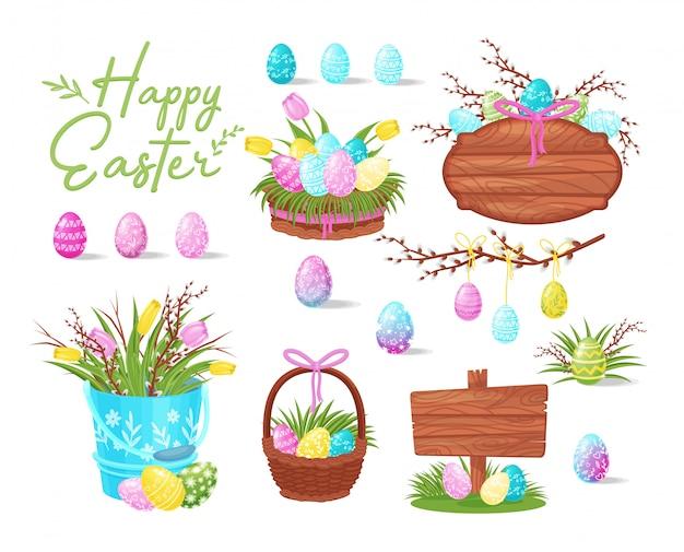 イースターアイコンのフラットセット。塗られた卵、空白の木の板、春の花の入ったバケツ付きバスケット
