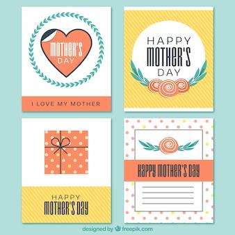 환상적인 어머니의 날 카드의 평면 세트