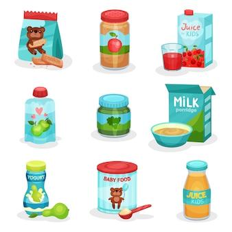 Плоский набор продуктов питания и напитков для детей. натуральные йогурты и соки, фруктовое и овощное пюре, печенье и каша