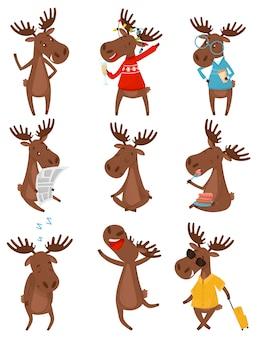 Плоский набор забавного коричневого лося в различных действиях. дикий лесной зверь с большими разветвленными рогами