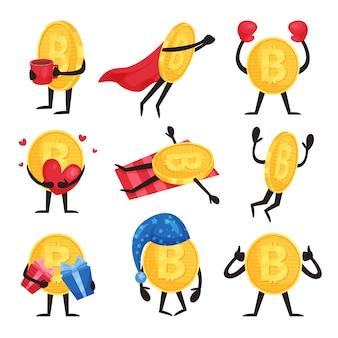 Плоский набор золотых монет с руками и ногами в различных действиях. персонажи биткойнов с кофейной чашкой, накидкой супергероя, боксерскими перчатками, сердцем, подарочными коробками, ночной шляпкой