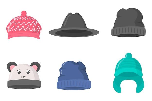 Плоский набор головных уборов шляпа для зимы и осени в стиле ретро для рождественского новогоднего дизайна