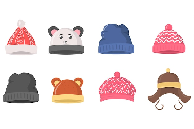 クリスマスの新年のデザインのための冬の秋のレトロなスタイルの帽子の帽子の服のフラットセット