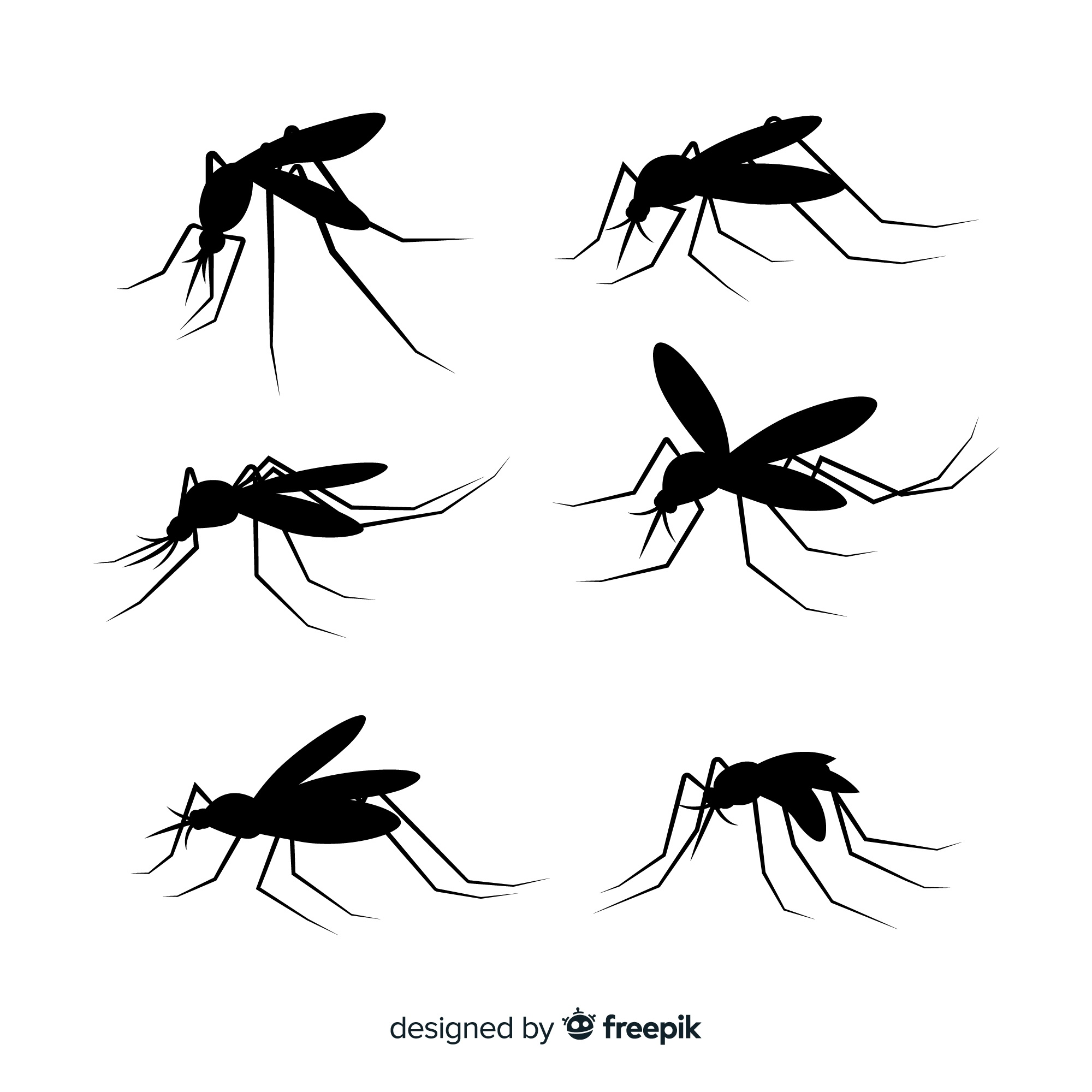 Flat set of mosquito silhouettes
