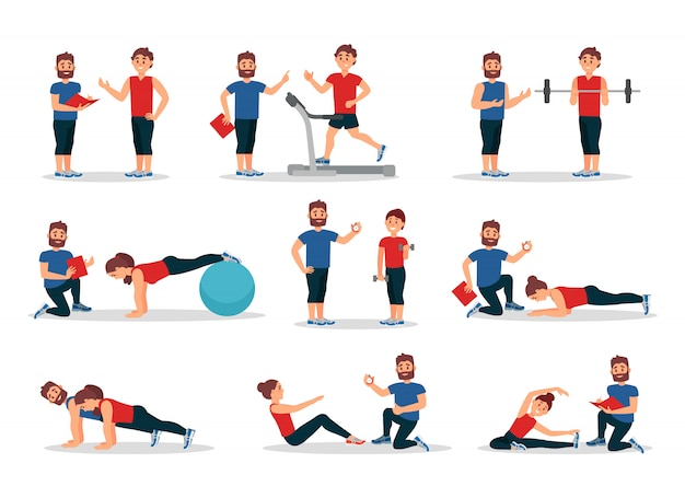 パーソナルトレーナーがいるジムの人々のフラットセット。さまざまなエクササイズをしている男性と女性。身体活動と健康的なライフスタイル