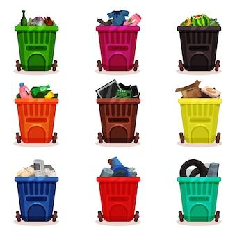 廃棄物の種類が異なるプラスチック容器のフラットセット。車輪付きのゴミ箱。ゴミの分別とリサイクルのテーマに関連するアイコン