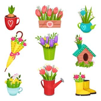 Плоский набор весенних композиций. красивые цветы в резиновых сапогах, зонт, лейка, чайник