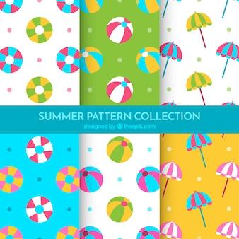 Плоский набор летних узоров с декоративными предметами