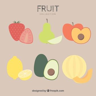 Плоский набор вкусных фруктов