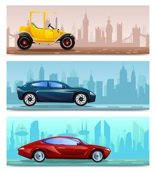 자동차 진화와 함께 3 개의 수평 배너의 평면 세트