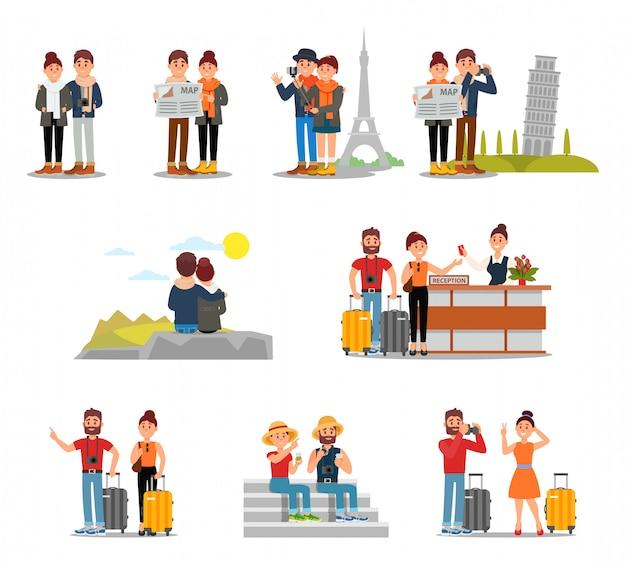 Плоский набор туристов с чемоданами, картами и камерами. люди путешествуют по европе. молодая пара на стойке регистрации отеля. мужчина и женщина в отпуске