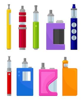 Плоский набор различных типов электронных сигарет. современные устройства для вейпинга. hipster оборудование для курения