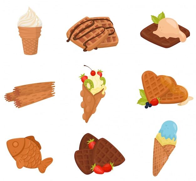 さまざまなワッフルデザートのフラットセット。アイスクリーム、美味しくてサクサクのスナック。
