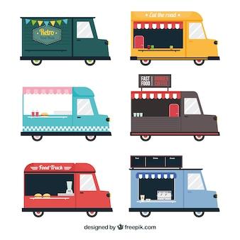 빈티지 음식 트럭의 평면 세트