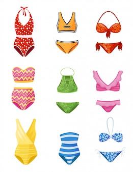 Плоский набор женских купальников. женская одежда для пляжного сезона. модные купальники. одежда для плавания
