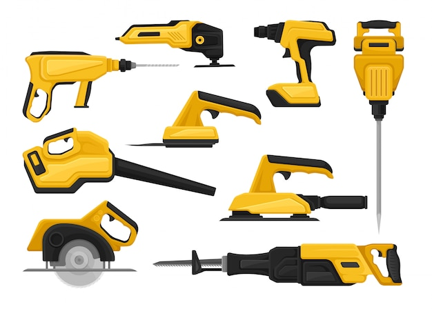 Flat set of power tools for construction works. modern building equipment collection on white