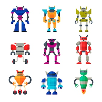 Flat set of robot transformers. futuristic metal androids. artificial intelligence. elements for mobile game