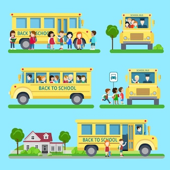 Flat set of school bus situations  illustration. education and knowledge,