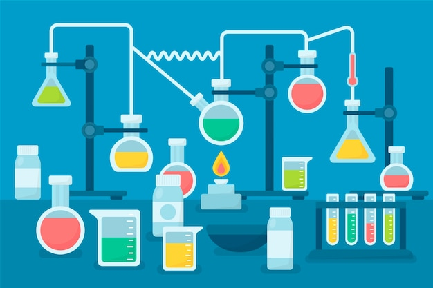 Flat set of science lab objects