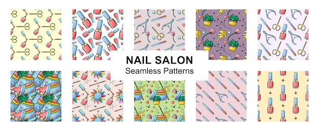 Flat set seamless pattern nail salon