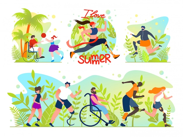 Flat set social flyer inscription i love summer