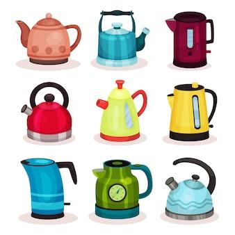 Flat   set of tea kettles. kitchen utensils. home appliance for boiling water.