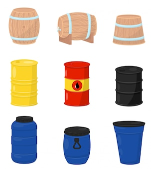 Flat   set of various barrels. wooden containers for beer or wine, plastic water tanks, metal drum with crude oil