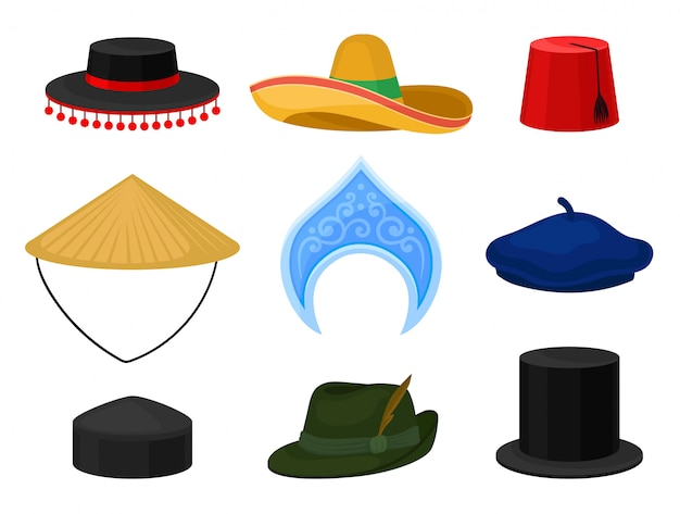 Flat set of various national headdress. traditional headwear. male and female accessories