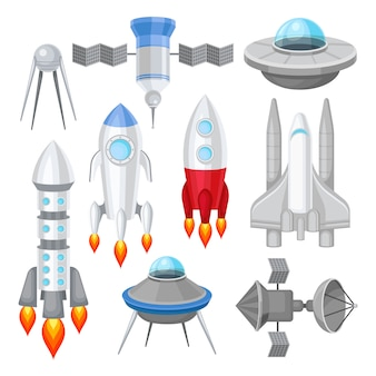 Flat   set of various spacecrafts. rockets with engine fire, large space shuttle, alien flying saucers and satellites. cosmos theme