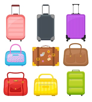 Flat   set of various travel bags. suitcases on wheels, elegant women handbags and retro case with stickers