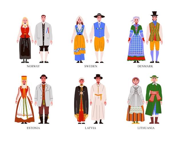 고립 된 다른 유럽 국가 의상을 입고 여성과 남성 플랫 세트