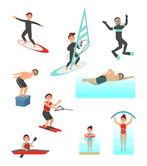 Flat set with young people involved in various water sports. summer vacation. active lifestyle