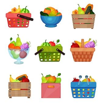 Flat set of wooden boxes, bowl, containers, shopping and picnic baskets with fresh fruits. tasty and healthy food